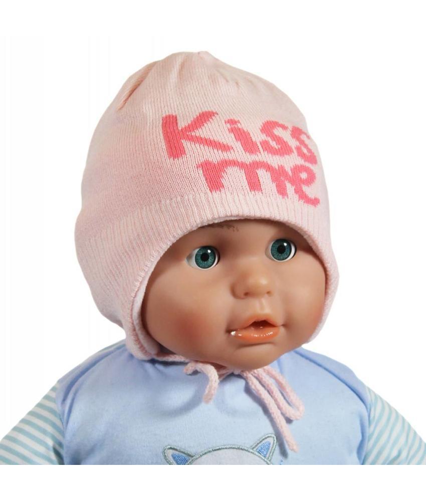 "Babymuts over de oren ""Kiss me"" pink"