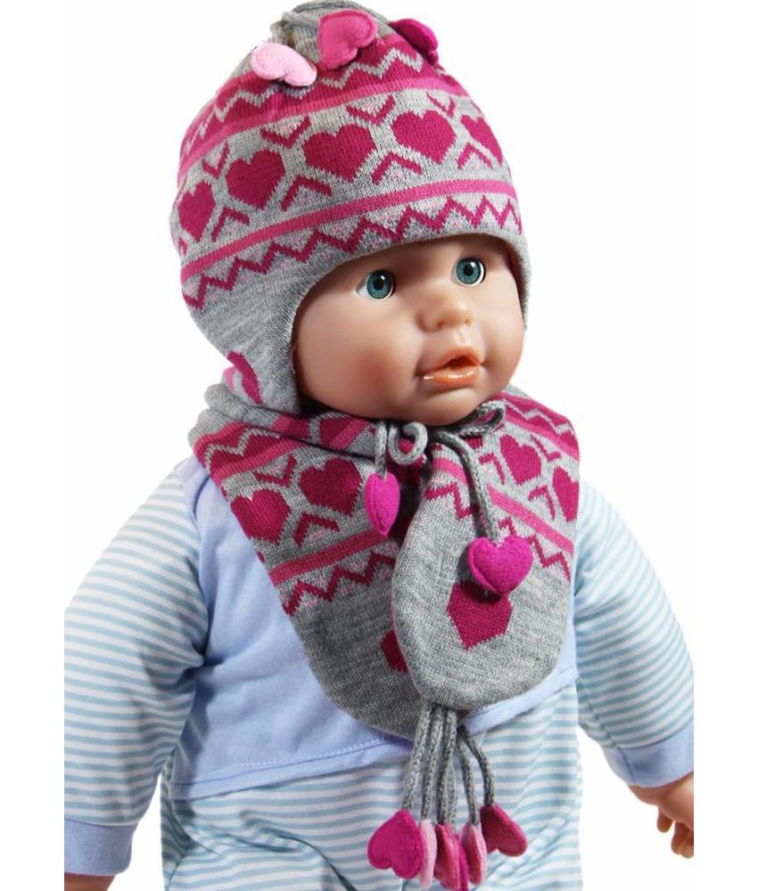 Baby Muts en Sjaal Grijs/Roos hartjes