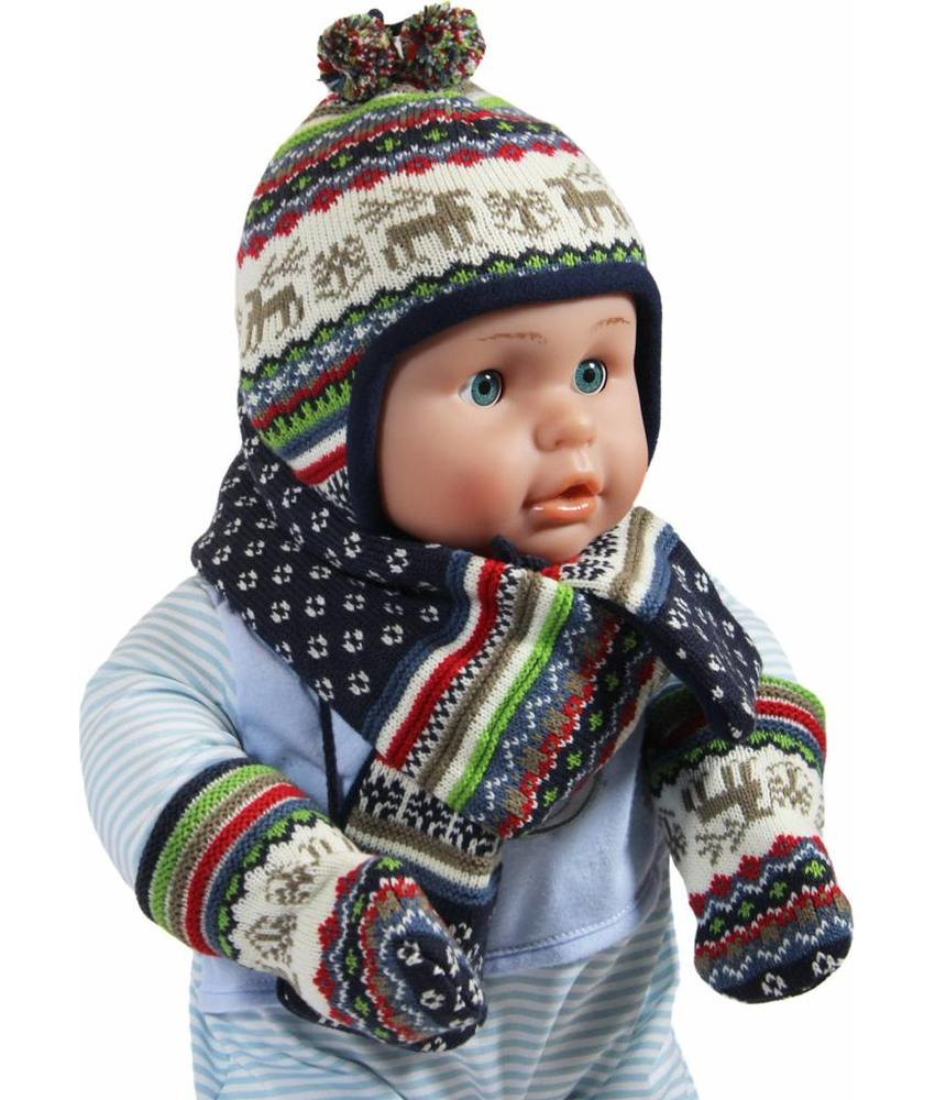 Babymuts , sjaal en wantjes Elandmotief blauw