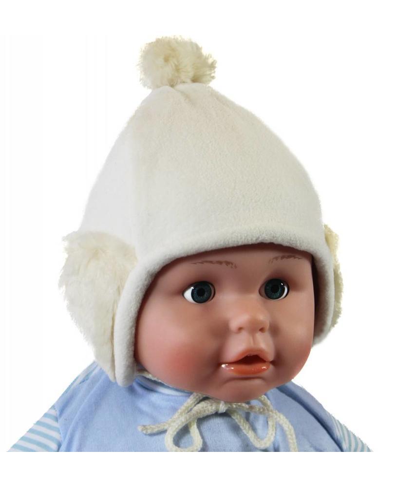 Ecru Babymuts pompon fleece