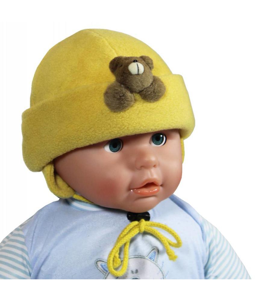 Babymuts fleece beertje oker