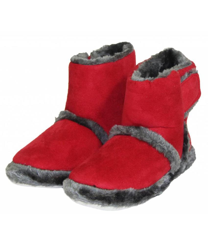 Pantoffels kinderen hoog met velcrostrip Rood