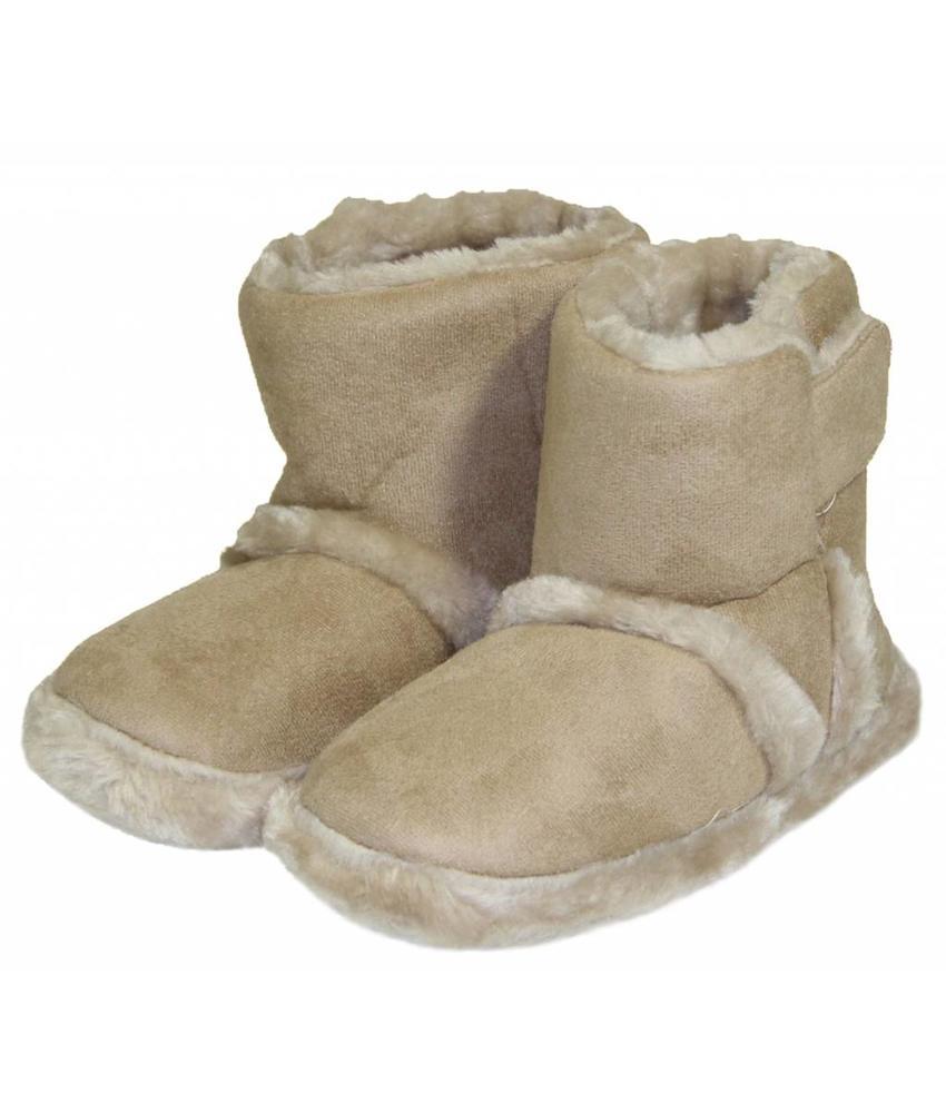 Pantoffels kinderen hoog met velcrostrip Beige