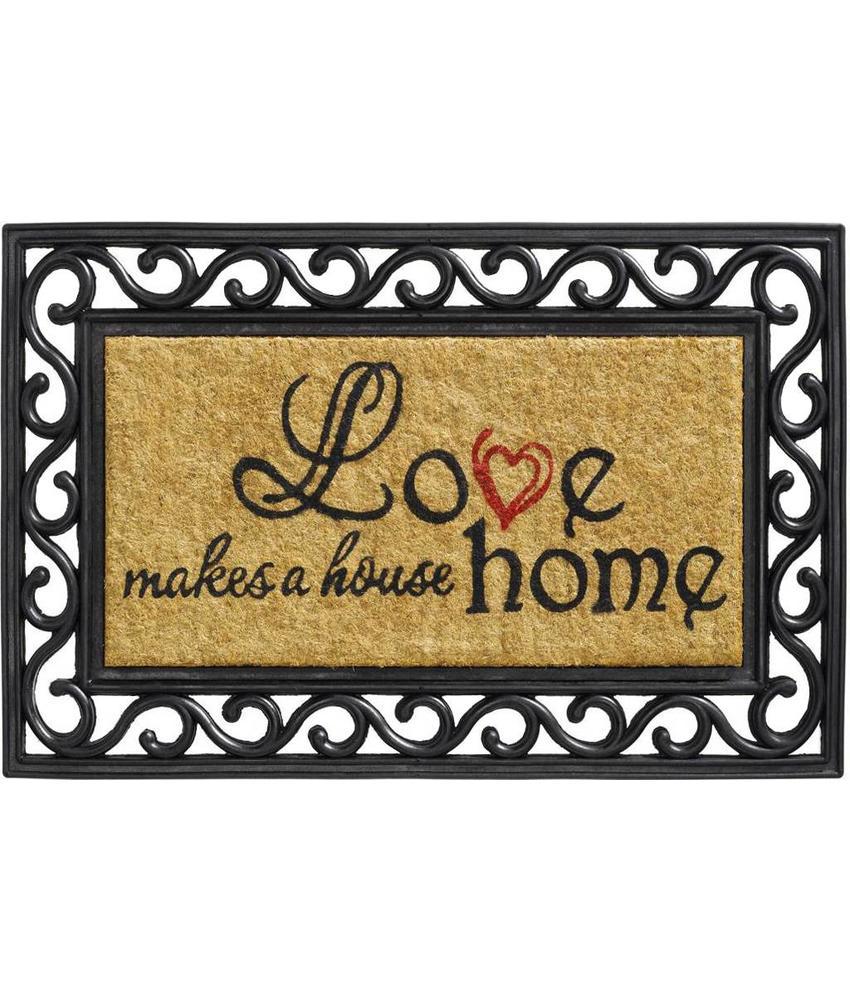 Kokos Deurmat love makes a house home (45x75 cm)