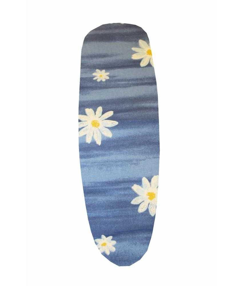 Mouwplankovertrek 59 cm x 21 cm Blauw / witte bloem