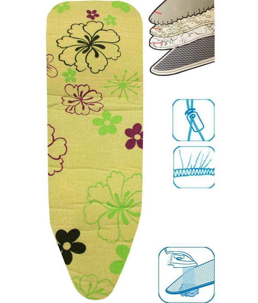 Strijkplankovertrek 3 lagen maat A Groen met bloemmotief