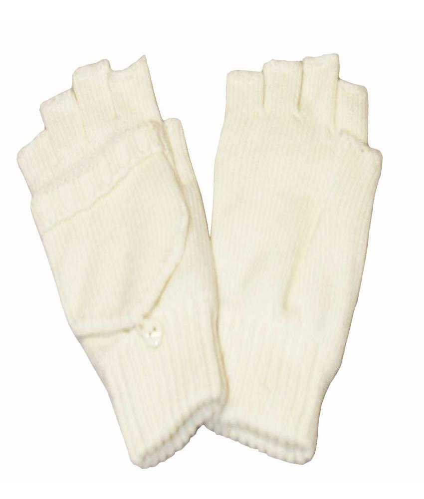 Dames handschoenen zonder vingers met flap Ecru