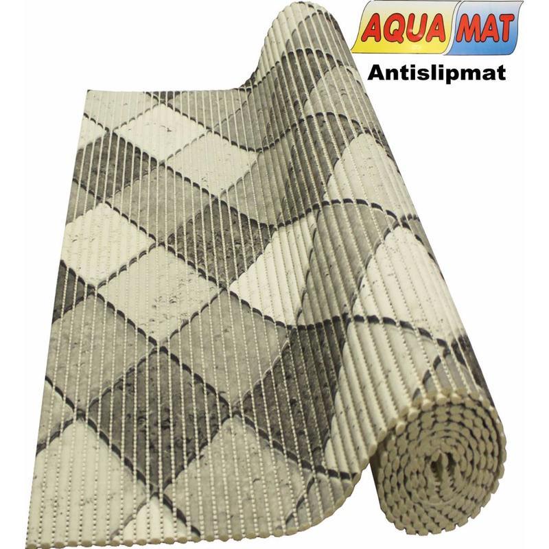 Aquamat antislipmat zwart/wit tegel design 0,65 x 2 meter