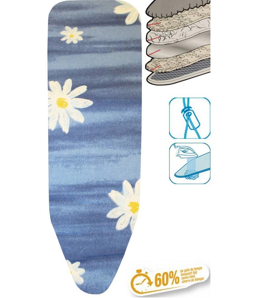 Strijkplankhoes 5 lagen maat C Blauw / witte bloem