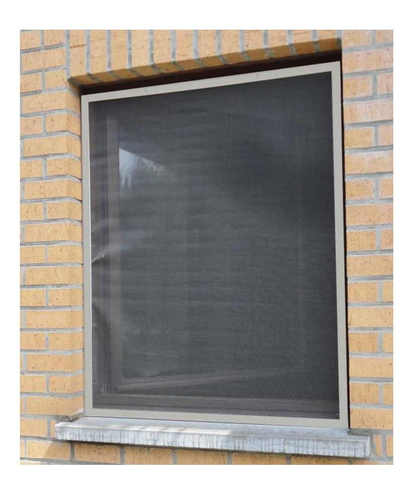 Aluminium Vliegenraam Grijs 100 x 120 cm.