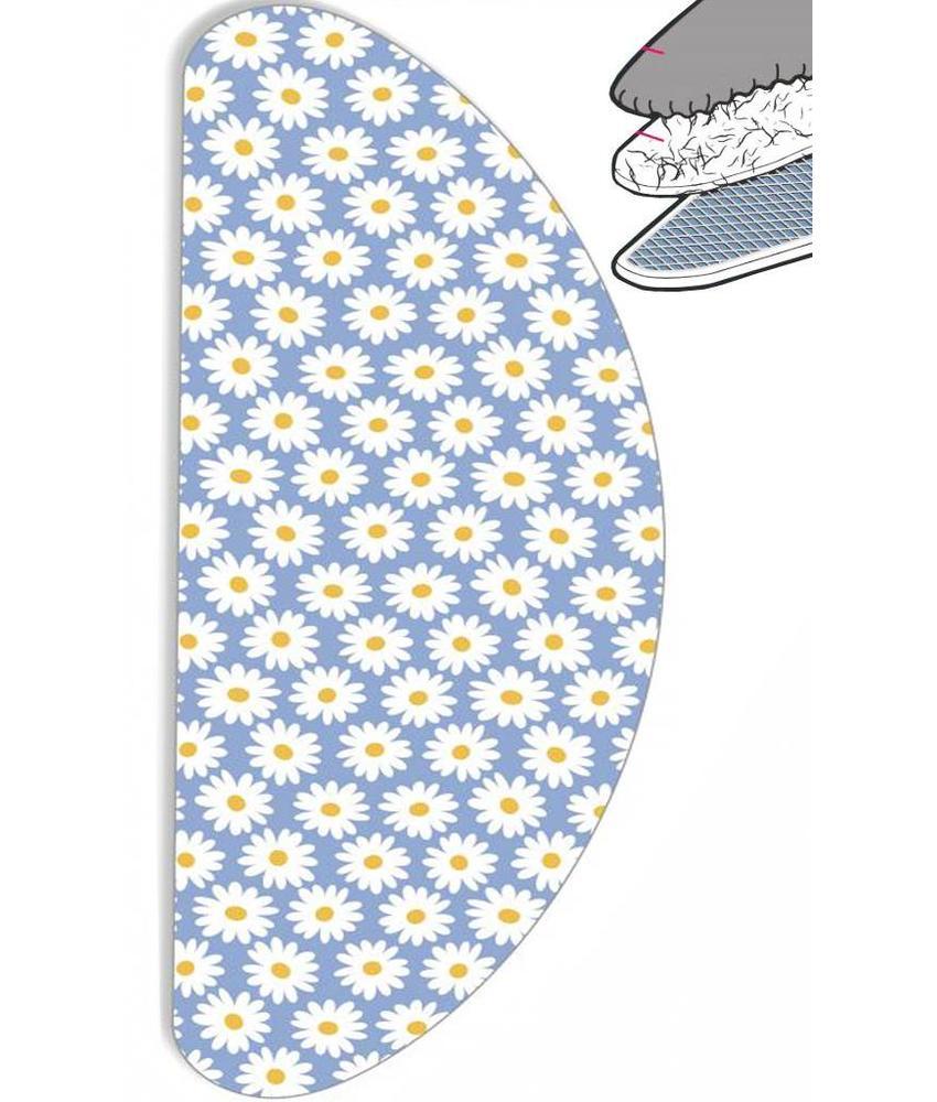 """Strijkplankhoes Banaan """"Blauw / witte bloem"""" met moltonlaag"""
