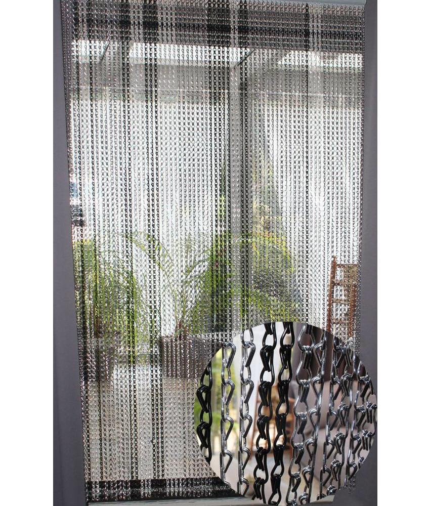 Ketting vliegengordijn Zilver / Zwart 90 x 200 cm.