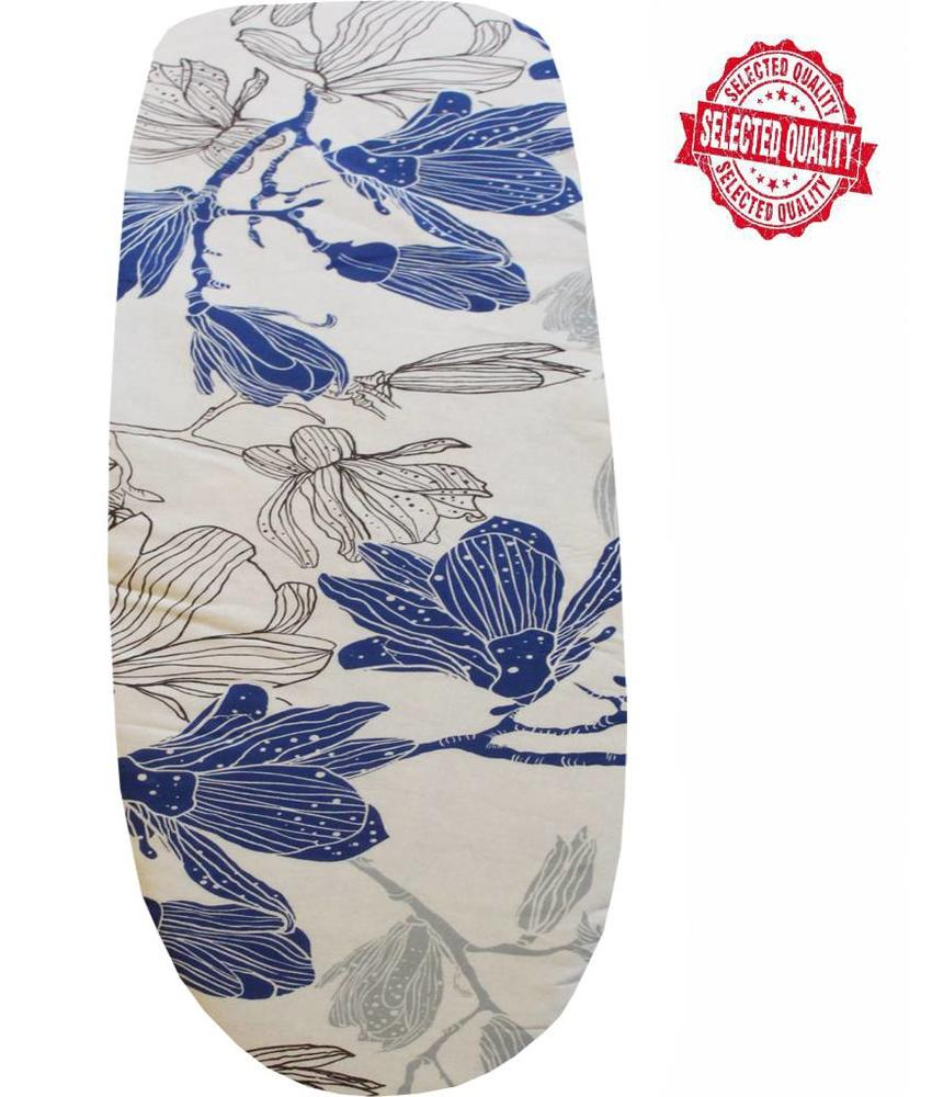 Strijkplankhoes 150 X 60 cm. Wit / blauwe bloem