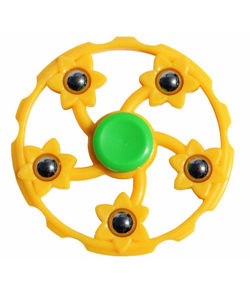 Hand spinner Geel 5 kogels rond