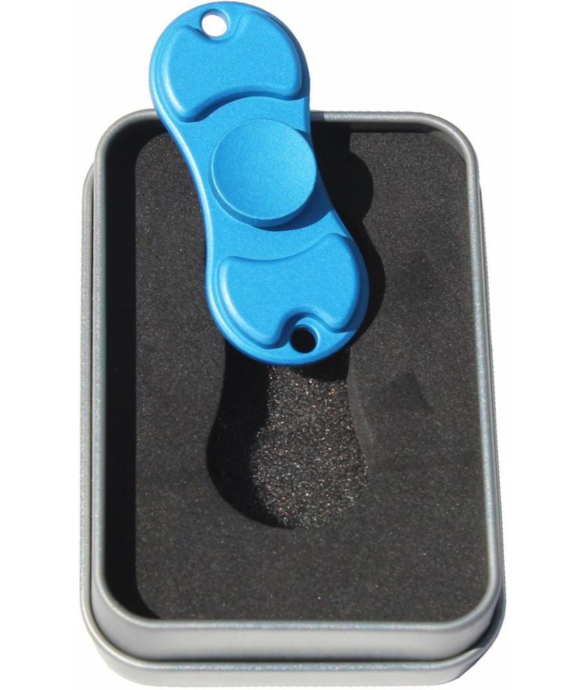 """Metalen hand spinner """"Dual"""" Mat / Blauw"""