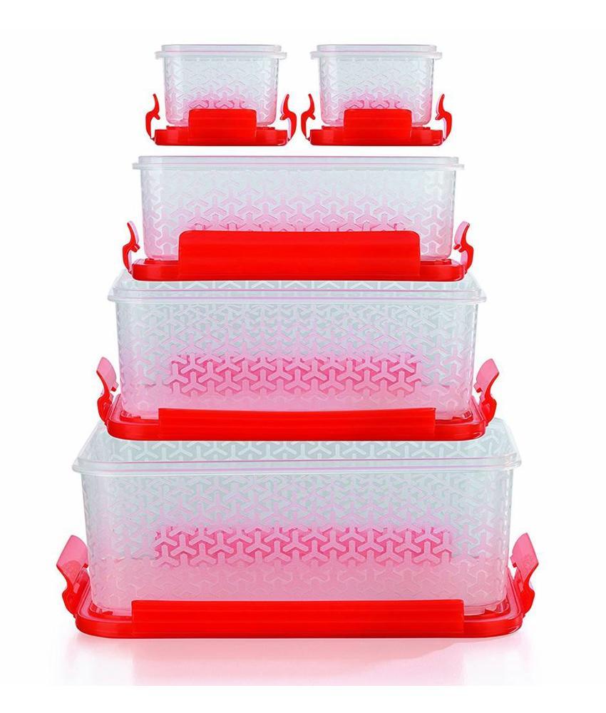 Bewaardozen rood 10-delige set