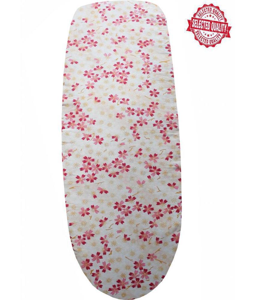 Strijkplankovertrek 140 x 50 cm beige/ roze bloemetjes