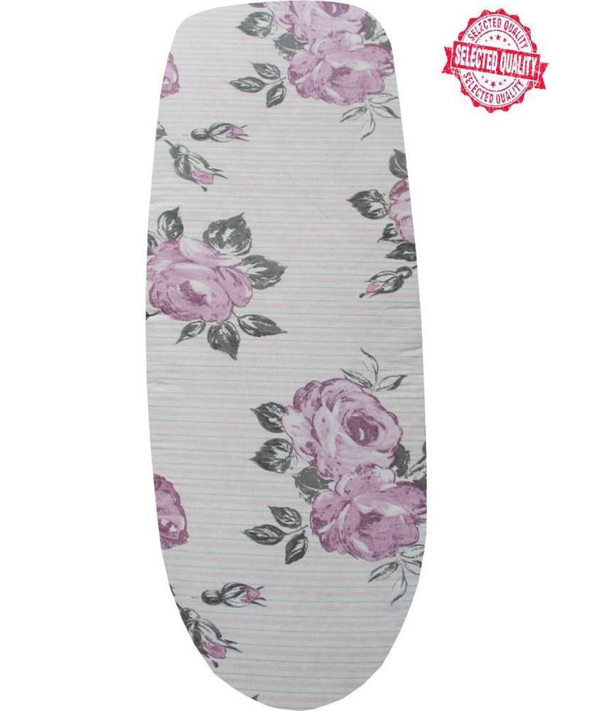 Strijkplankovertrek 140 x 50 cm streep / roze bloem