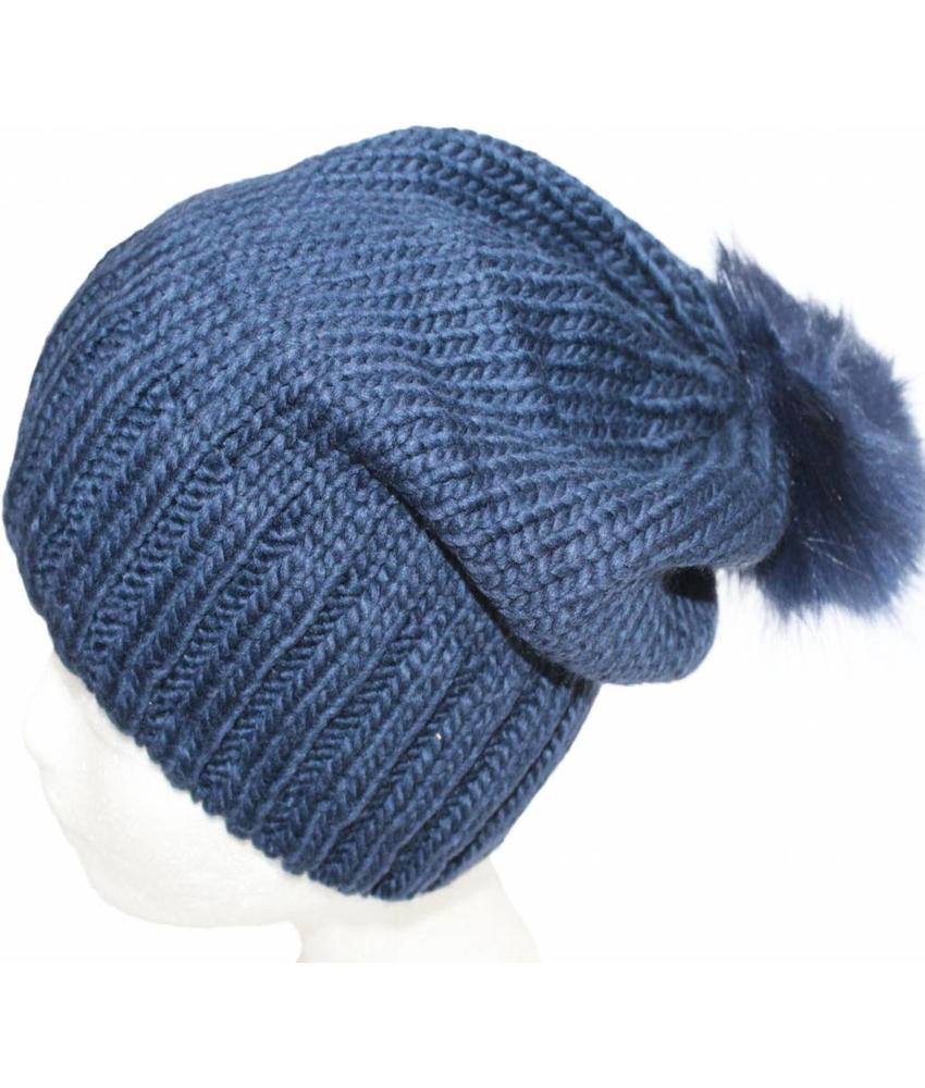 Gebreide Pomponmuts Navy Blauw