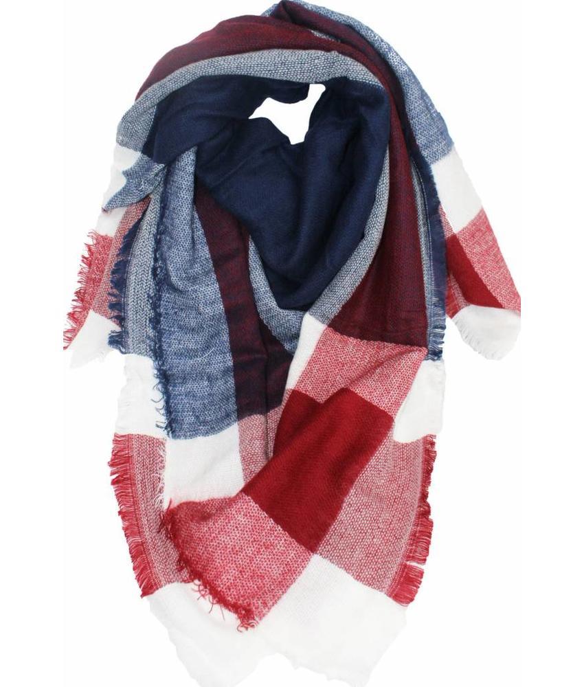 Dames Sjaal 140 x 140 cm rood/blauw/wit