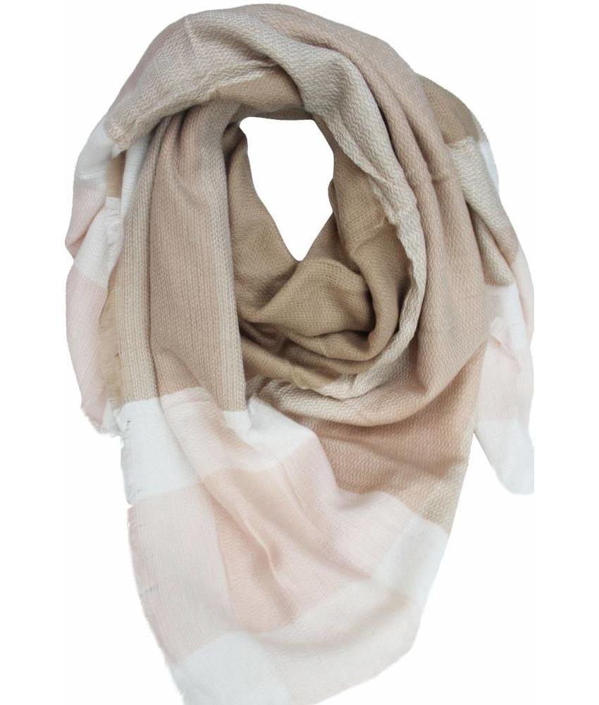 Dames Sjaal 140 x 140 cm beige/roos/wit