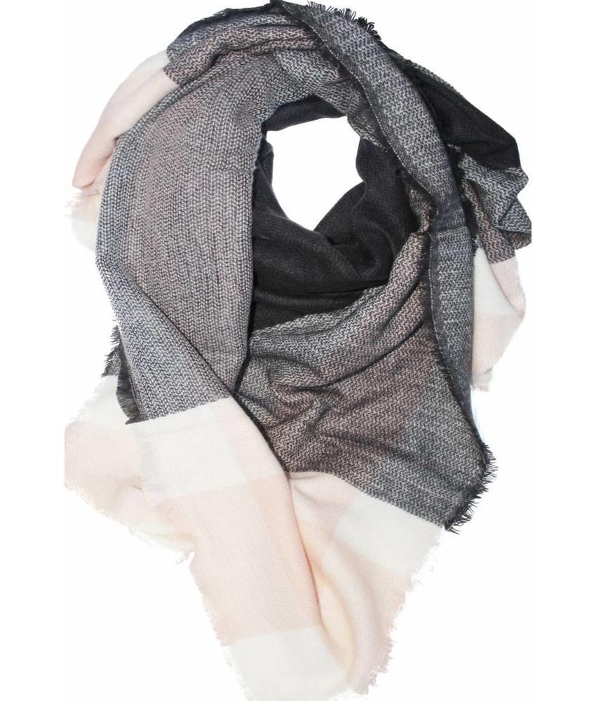 Dames Sjaal 140 x 140 cm zwart/grijs/roze
