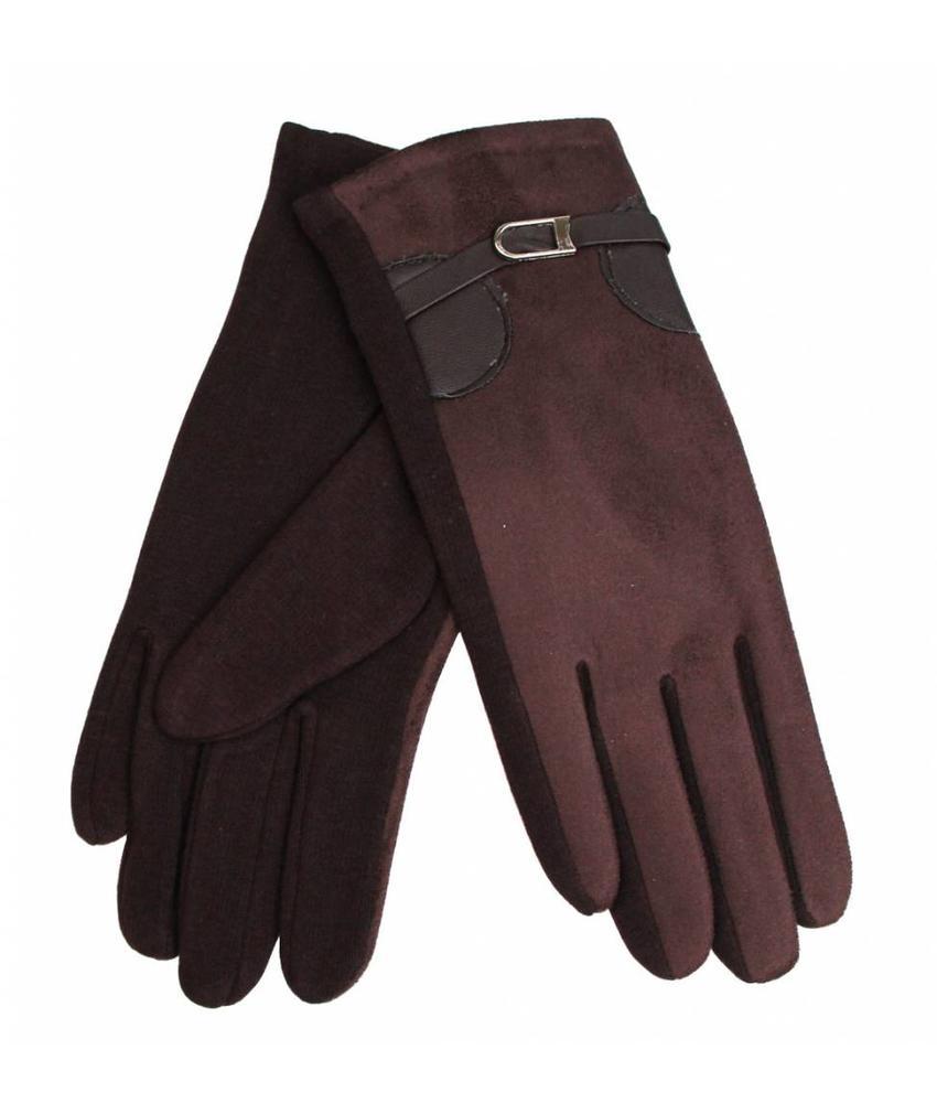 Suede Dames Handschoenen Brown