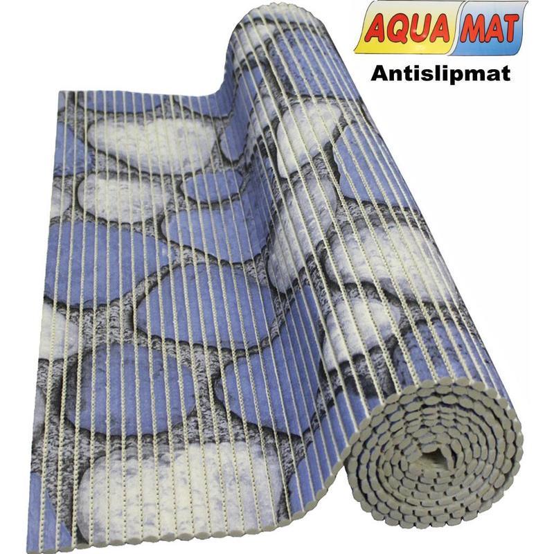 Aquamat antislipmat blauw steenmotief 0,65 x 2 meter