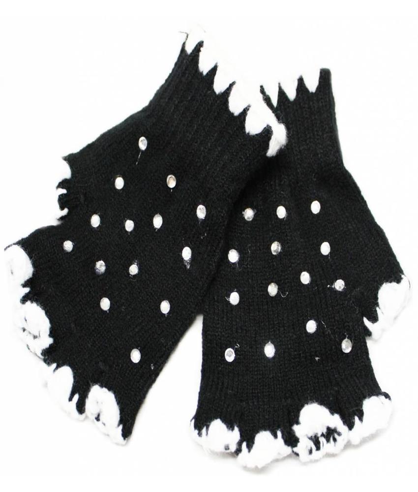 Vingerloze handschoenen met strass steentjes