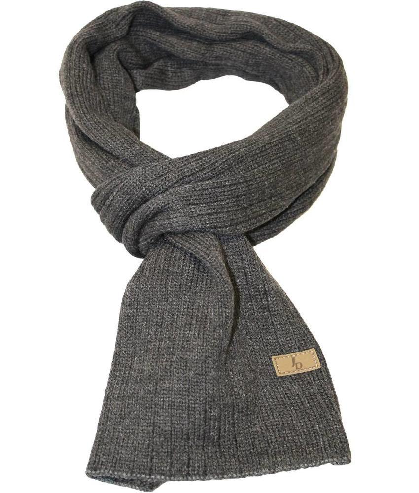 Gebreide sjaal grijs met logo