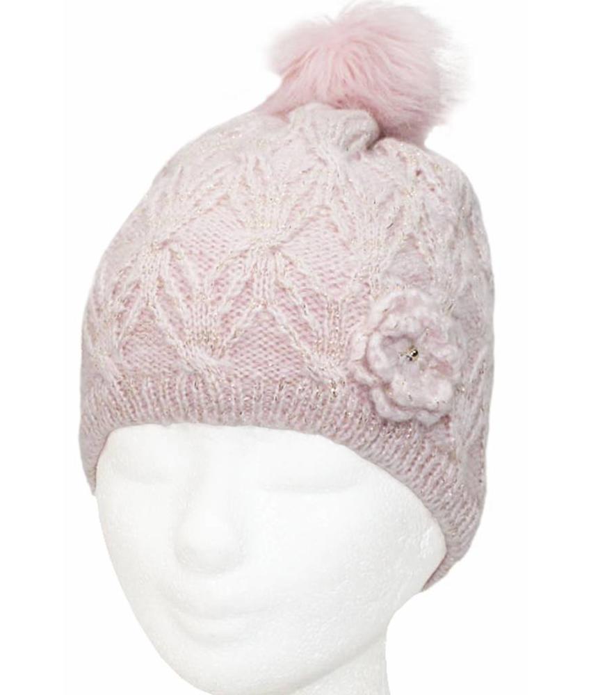 Meisjes Muts Lurex - fur pompon Roze