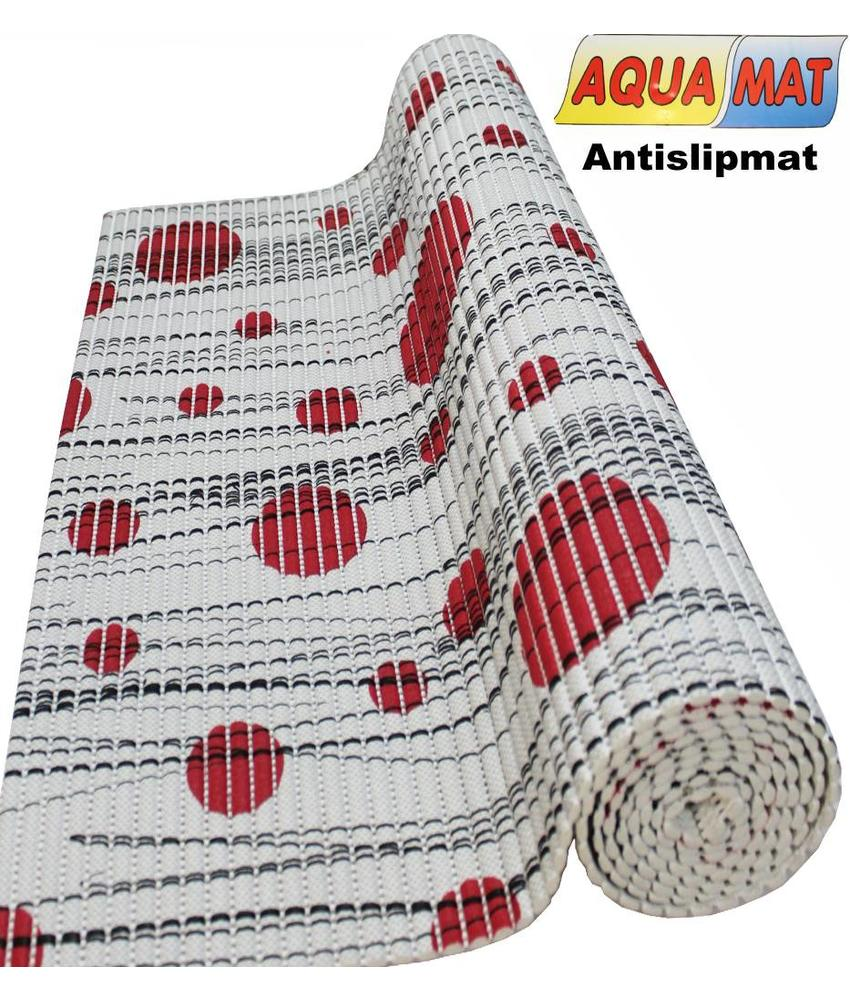 Aquamat antislipmat Grijs / Rode stip 0,65 x 2 meter