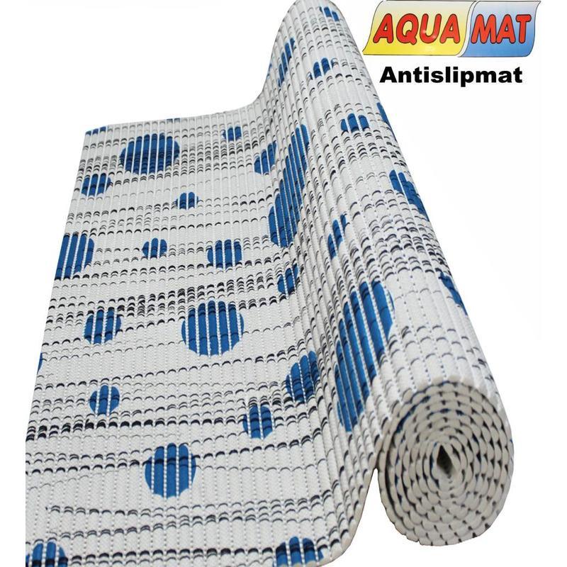 Aquamat antislipmat Grijs / Blauwe stip 0,65 x 2 meter