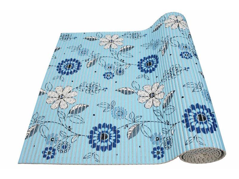Aquamat antislipmat Blauw bloem motief 0,65 x 2 meter
