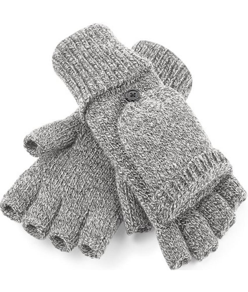 Gebreide Handschoenen zonder vingers met flap Grijs