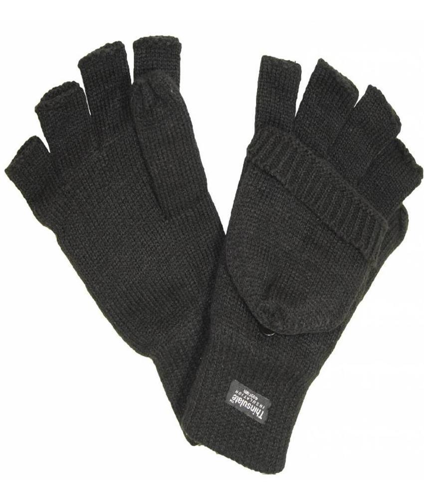 Thinsulate Handschoen zonder vingers met flap  Zwart
