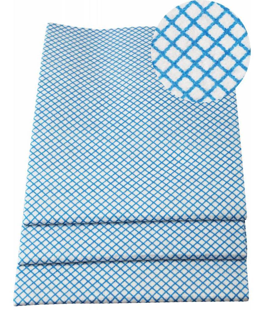 Dweil Viscose Blauw  geruit 50x70cm  ( 3 st.)  extra hygiëne