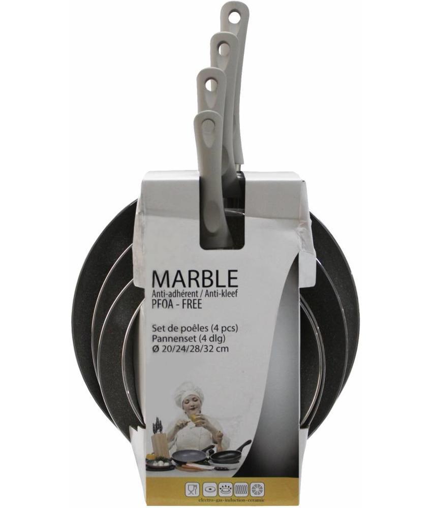 Haute Cuisine Pannenset 4-delig  Marble 20-24-28-32 cm.