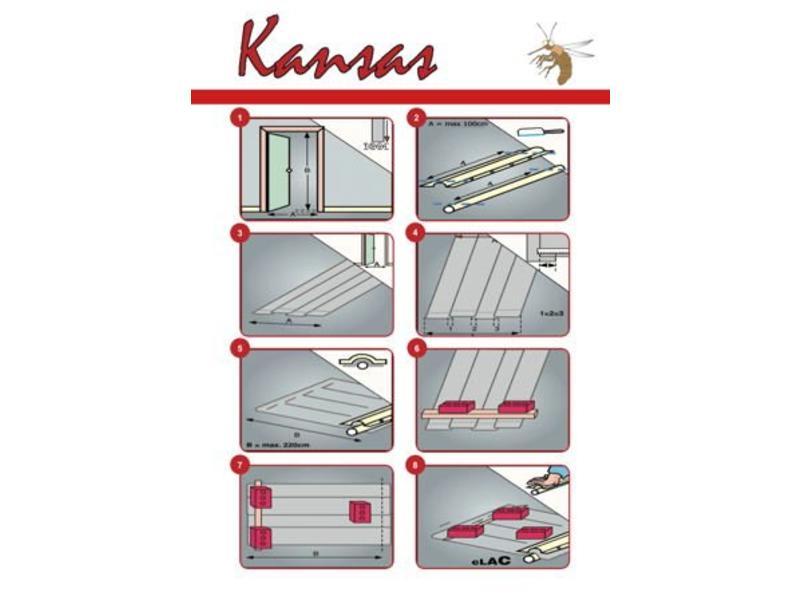 Horgordijn  Kansas Grijs  100x220 cm.