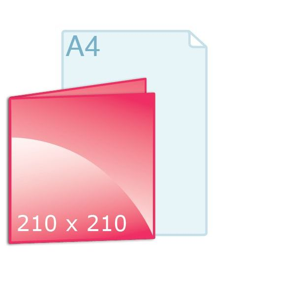 Gevouwen kaart carré 210 (210 x 210 mm) liggend vouw links