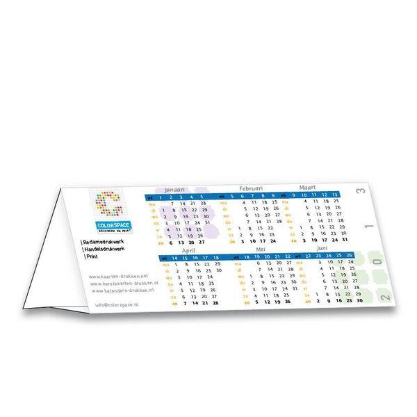Bureaujaarkalender eenzijdig gedrukt, driehoek gevouwen