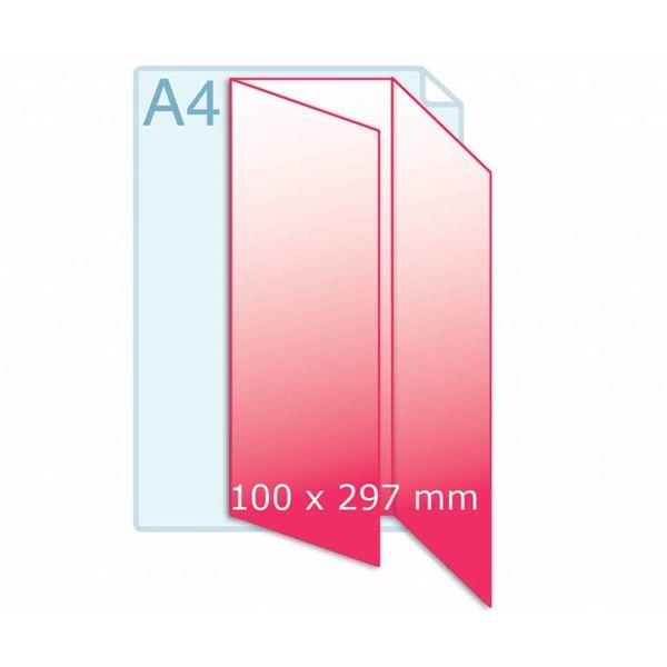 Gevouwen folder drukken A4 naar 100 x 210 mm wikkel