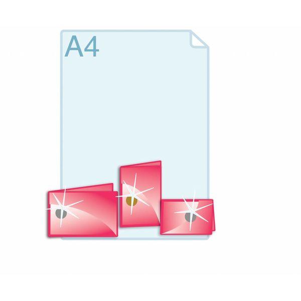 Foliedruk aanbrengen op formaat gevouwen A6 (210 x 148 mm of 296 x 105 mm) of kleiner