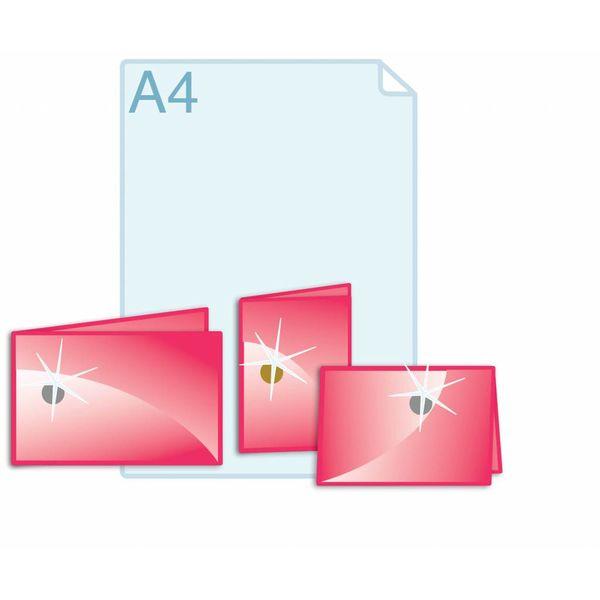 Foliedruk aanbrengen op formaat gevouwen A5 (296 x 210 mm of 420 x 148 mm) of kleiner