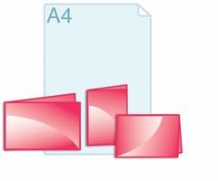 Folders drukken in een eigen formaat binnen een gevouwen A5 (opengevouwen 296 x 210 of 420 x 148 mm)