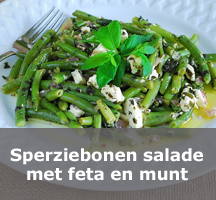 Salade sperziebonen munt en feta