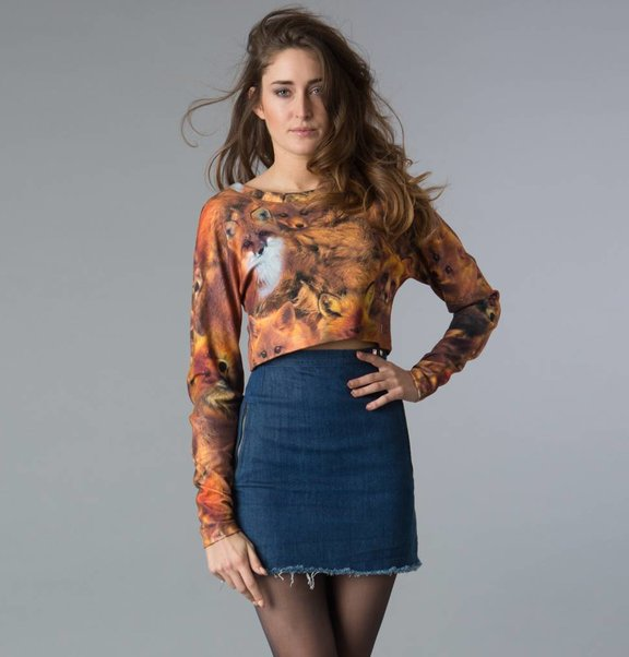 This is Lily Cropped, fox print jersey sweater