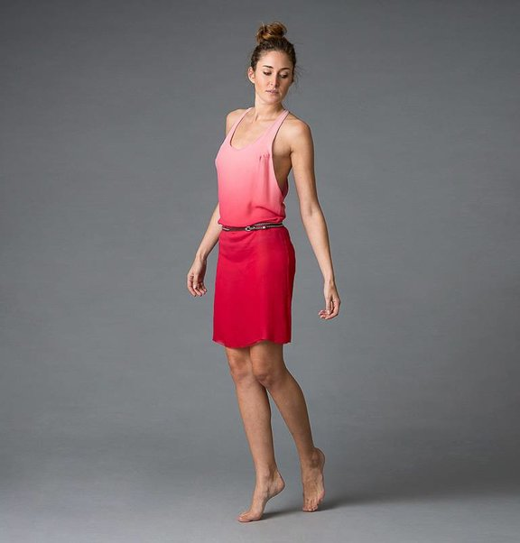 This is Lily Crepe silk, dip-dye cherry to white tanktop dress