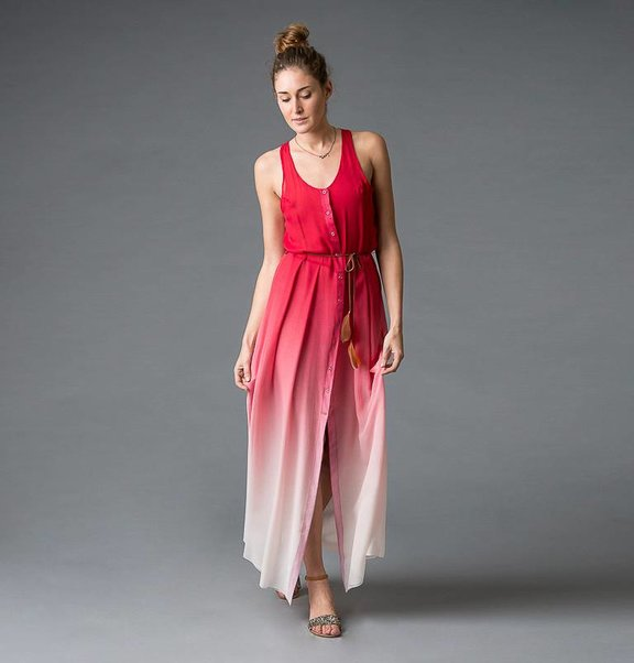 This is Lily Crepe silk, dip-dye cherry to white dress