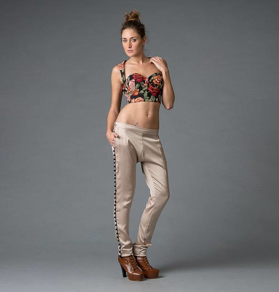 This is Lily Champagne coloured harem pants with cotton balls